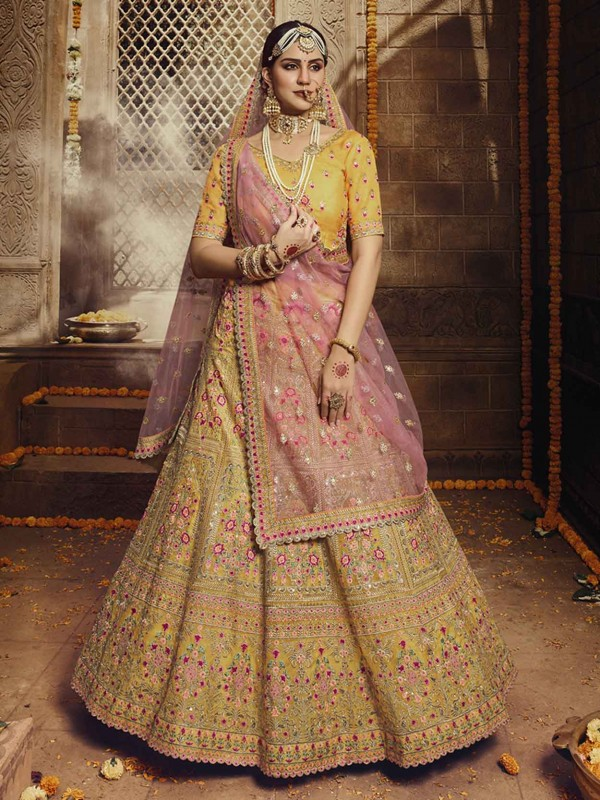 Yellow Colour Organza Fabric Wedding Lehenga.