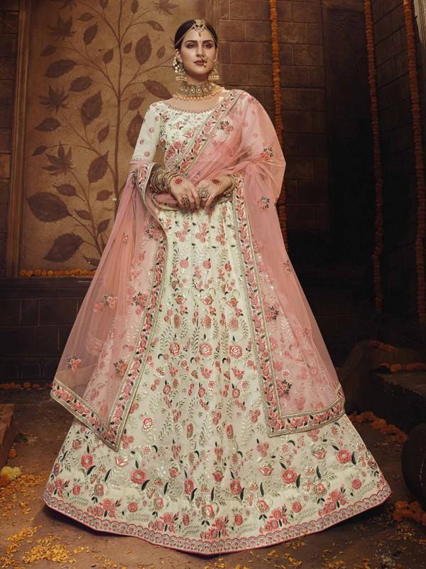 Georgette Fabric Off White Colour Lehenga Choli.