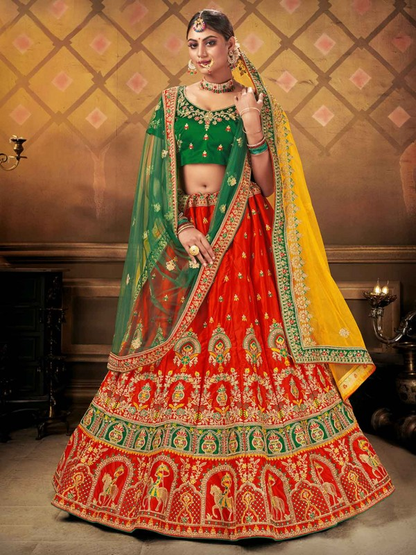Red Colour Indian Designer Lehenga Choli in Satin,Silk Fabric.