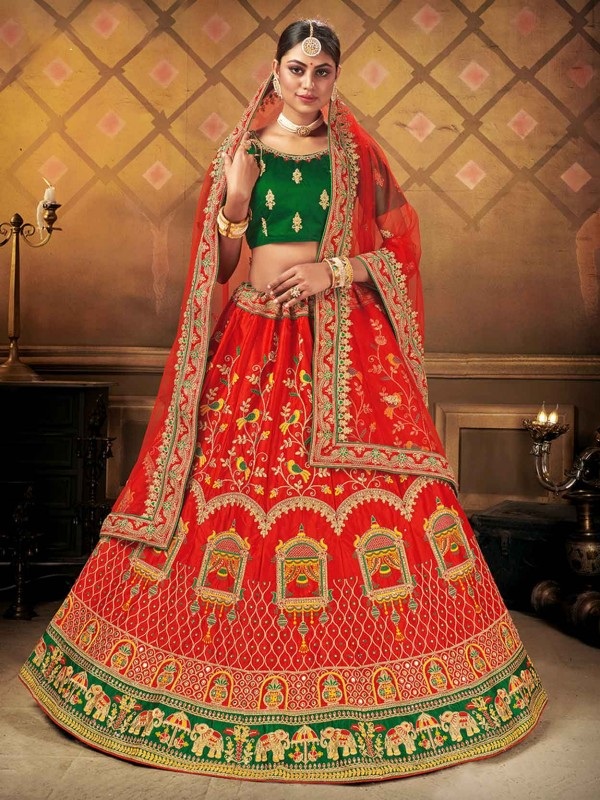 Red Colour in Satin,Silk Fabric Indian Wedding Lehenga Choli With Embroidery Work.
