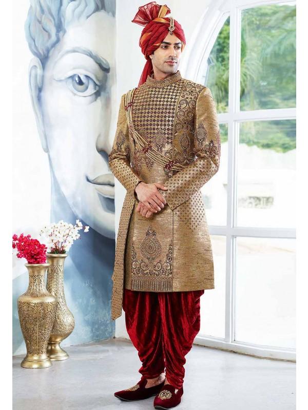 Buy designer Brocade sherwani in Golden Colour for men