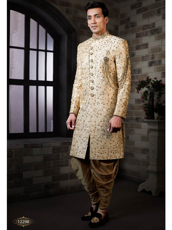 Indian Wedding Sherwani Golden Colour.