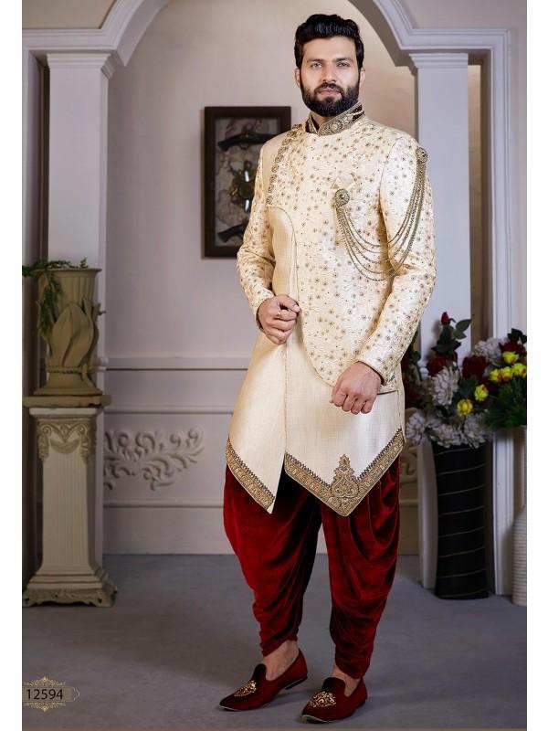Indian Designer Wear Cream Colour.