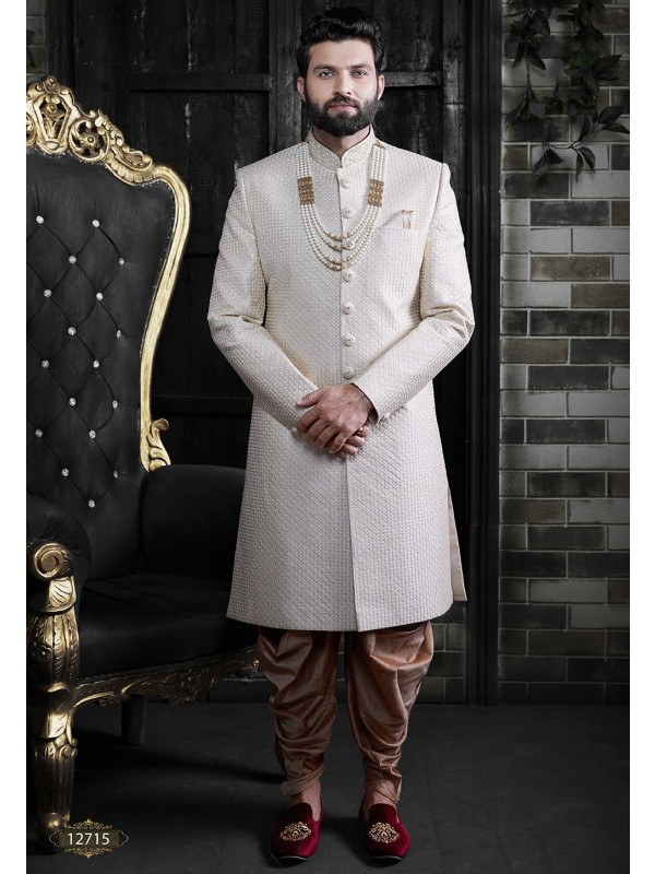 Cream,Off White Colour Latest Designer Groom Sherwani.