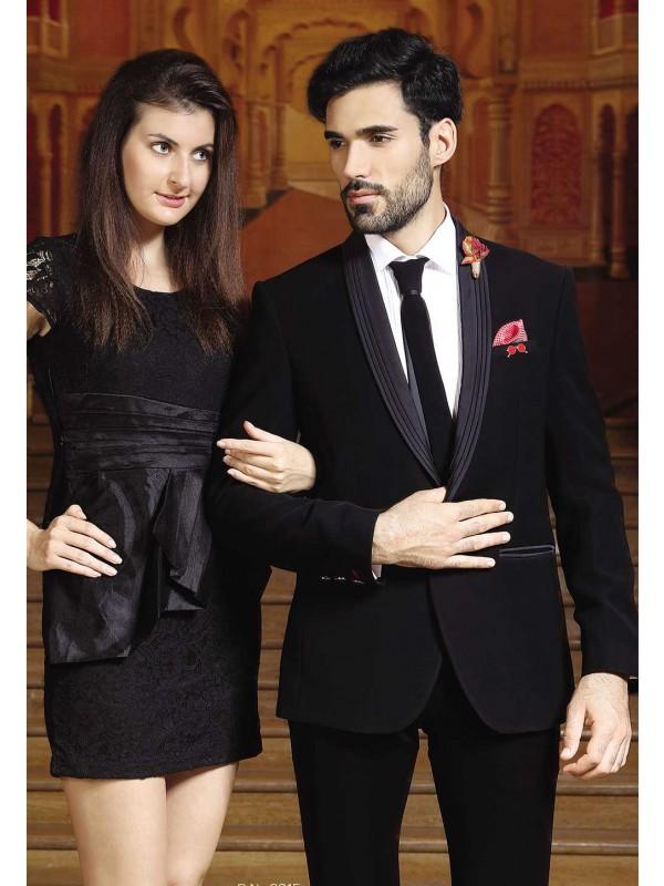 Buy Designer Suits for Men Black Color Wedding Suit