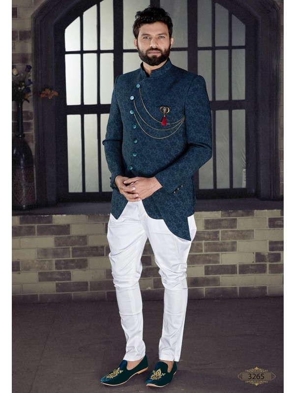 Dark Blue Colour Jodhpuri Suit.