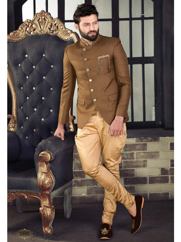 Golden,Brown Colour Designer Jodhpuri Suit.
