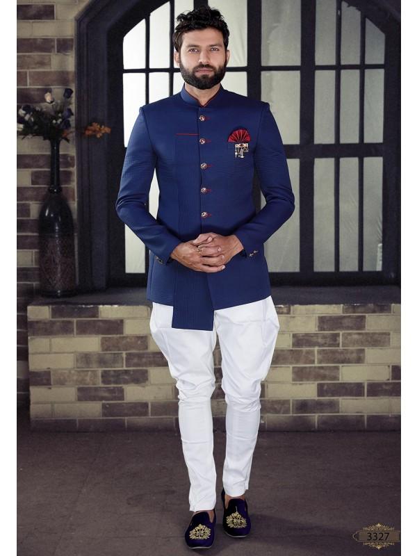 Blue Colour Imported Fabric Jodhpuri Suit.