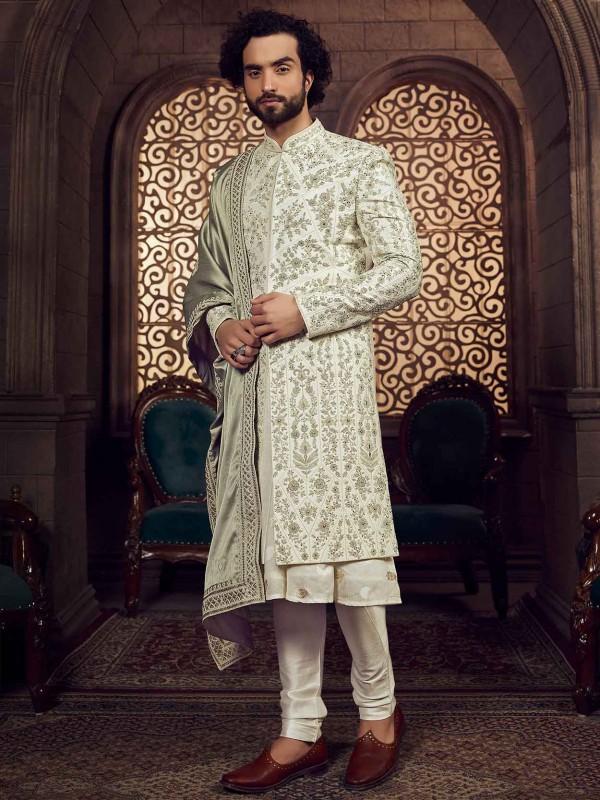 Silk Fabric Groom Sherwani Pista Green Colour.