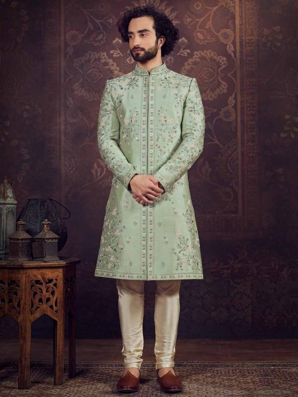 Green Colour Silk Designer Sherwani.