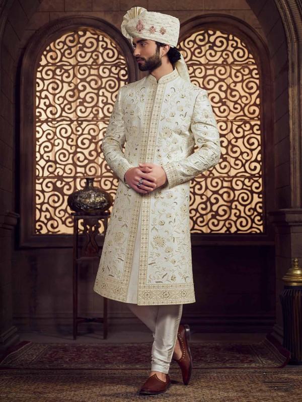 Cream Colour Silk Wedding Sherwani.