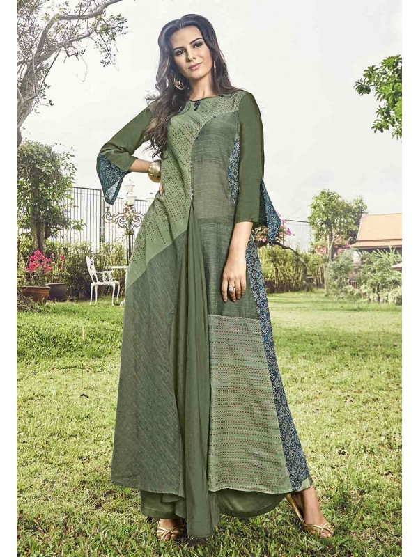 Green Color Heavy Designer Kurti.