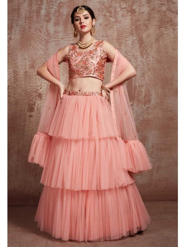 Peach Colour Net Lehenga Choli.