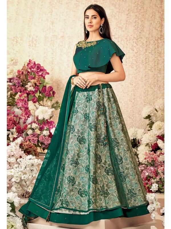 Green Colour New Designer Lehenga Choli.