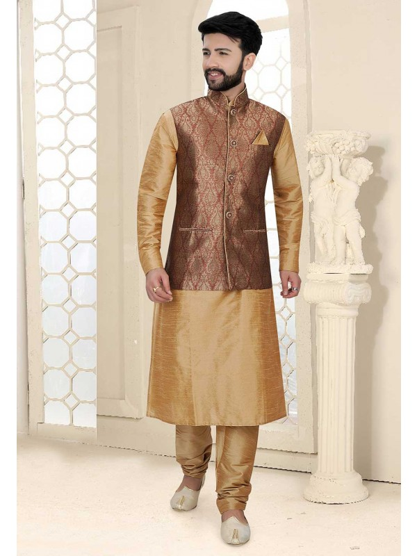 Beige,Brown Colour Designer Kurta Pajama Jacket.