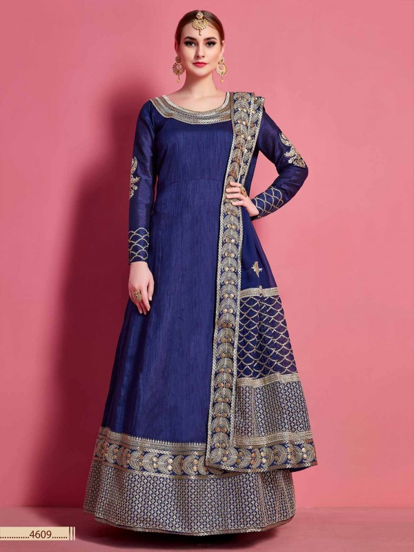 Navy Blue Colour Art Silk Designer Readymade Gown.