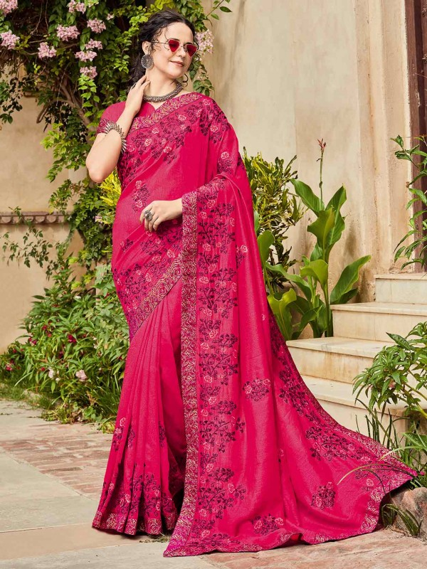 Red,Pink Colour Embroidered Saree.