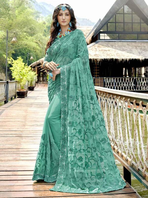 Georgette Designer Saree in Green Colour.