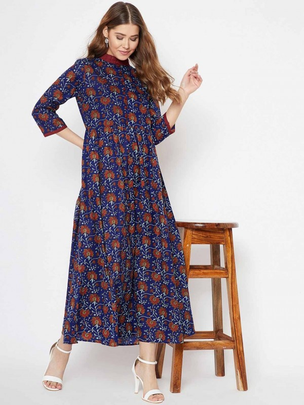 Navy Blue Printed Kurti In Cotton Fabric.