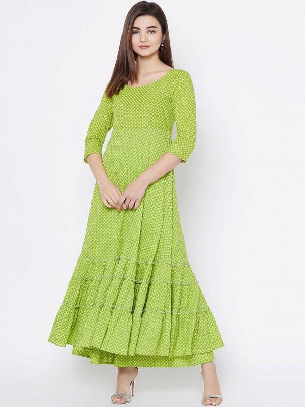 Green Colour Cotton Fabric Readymade Kurti.