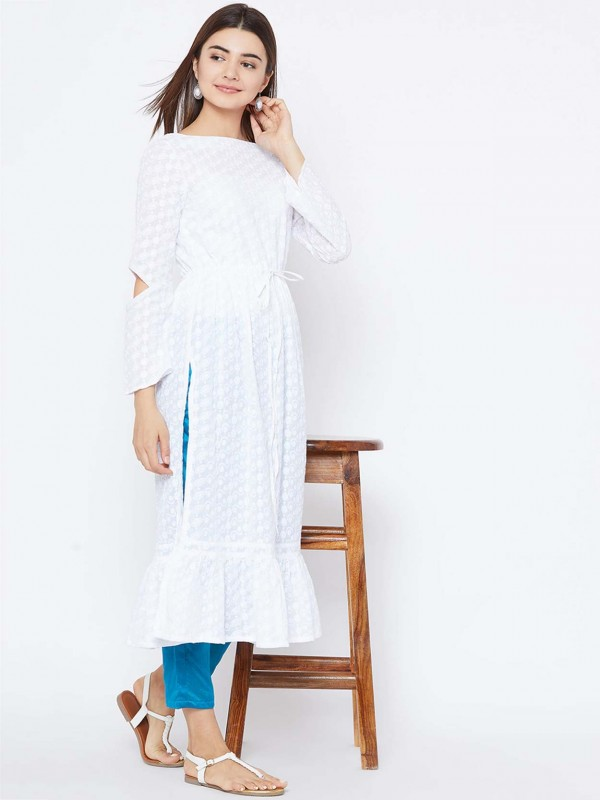 White Colour Cotton Kurti.