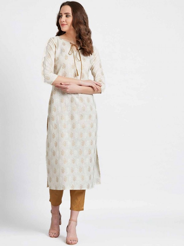 Brown Colour Cotton Fabric Printed Kurti.