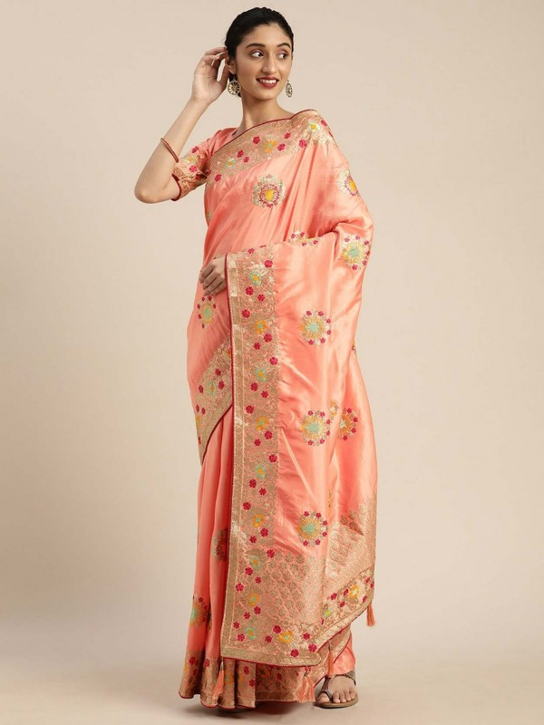 Silk Designer Saree in Peach Colour.