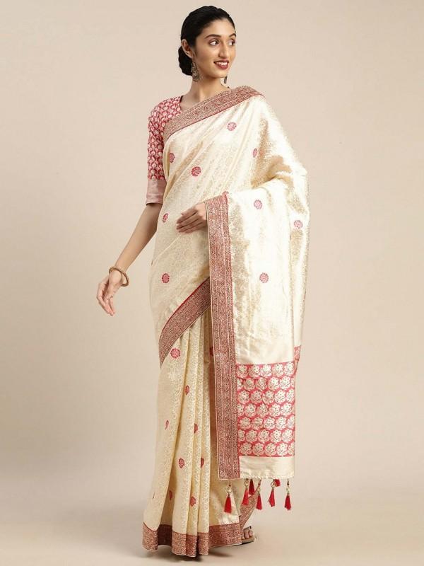 Cream Colour Art Silk Designer Sari.