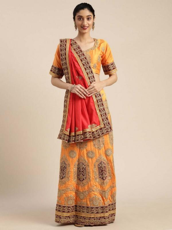 Yellow Colour in Silk Women Saree.