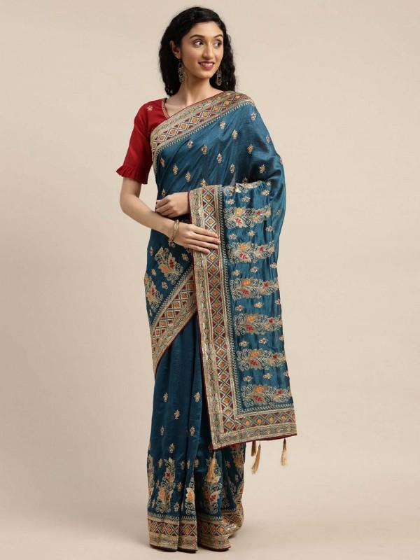 Teal Blue Colour Silk Women Sari.