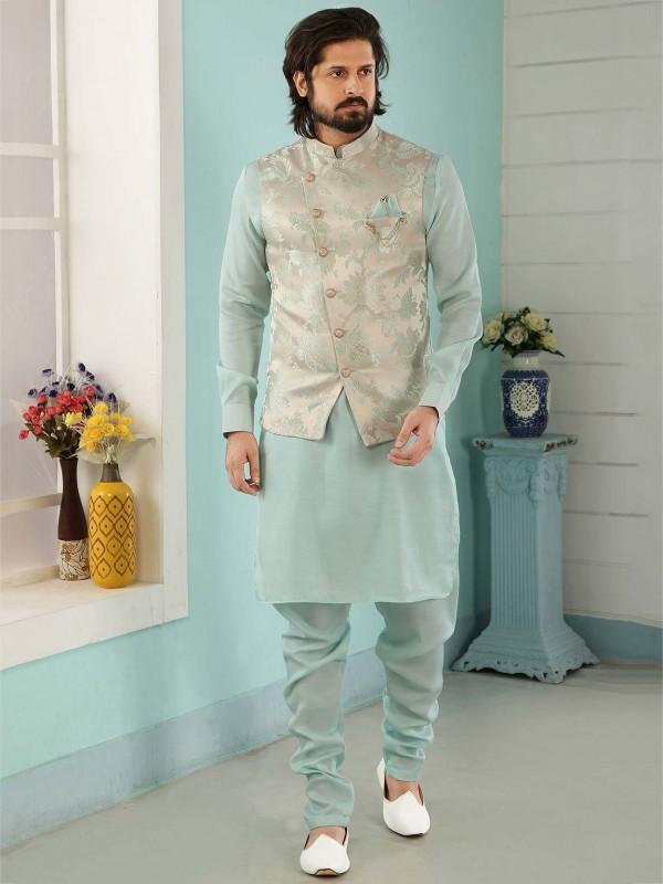 Cream,Sky Blue Colour Banarasi Silk Men's Kurta Pajama.