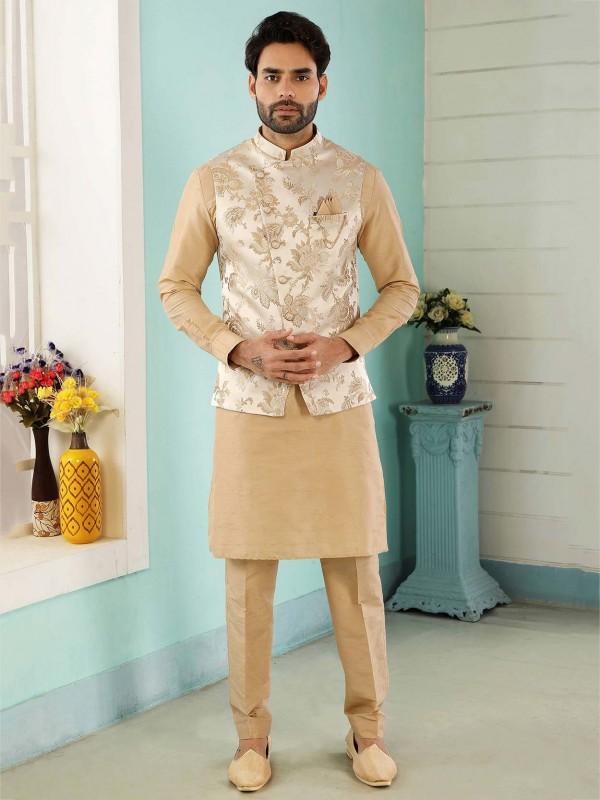 Cream,Golden Colour Jacquard,Banarsi Silk Fabric Kurta Pajama Jacket.