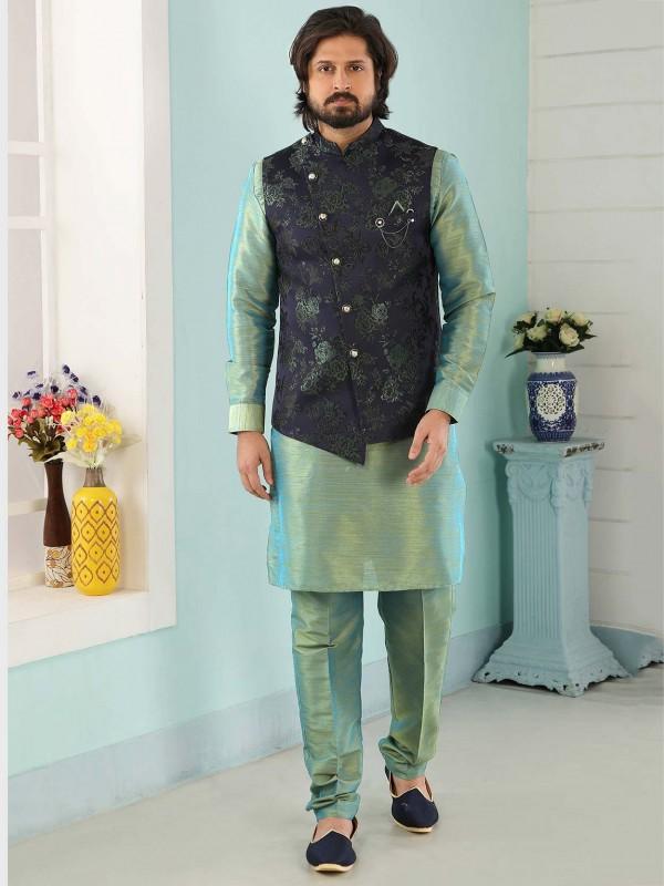 Blue,Green Colour Jacquard,Banarasi Silk Kurta Pajama Jacket.