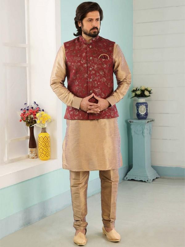 Maroon,Beige Colour Wedding Kurta Pajama.
