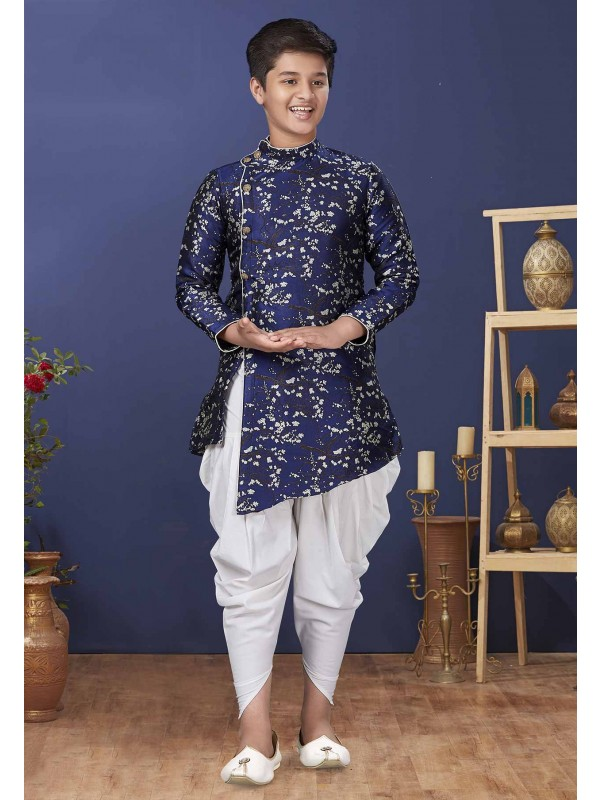Blue Colour Jacquard,Silk Kids Indowestern.