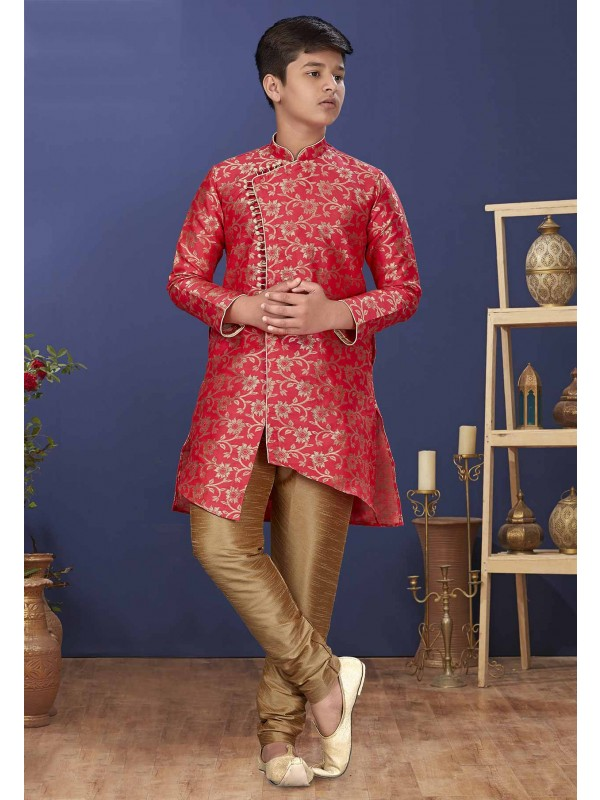 Red Colour Silk Fabric Designer Boy's Indowestern.
