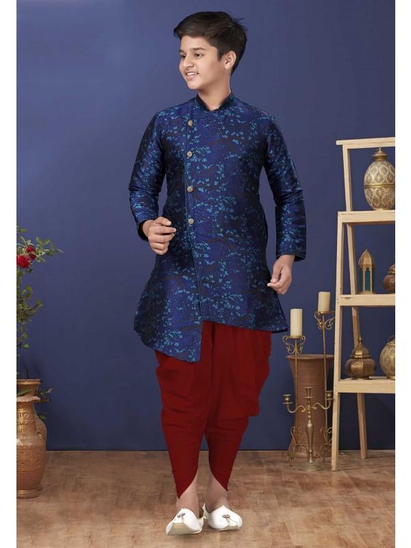 Jacquard Silk Fabric Kids Indowesten in Blue Colour.