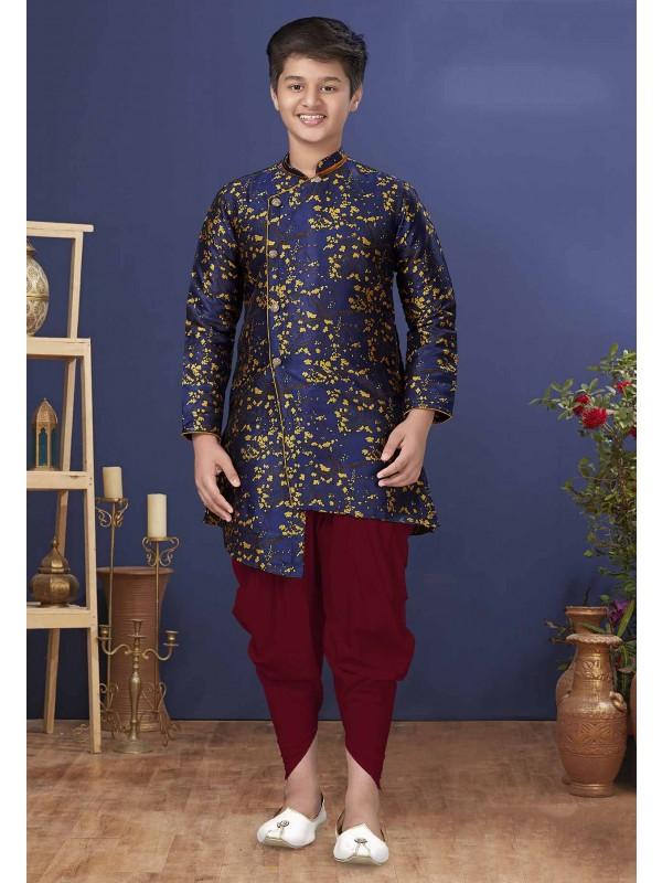 Silk Fabric Boy's Indowestern in Blue Colour.