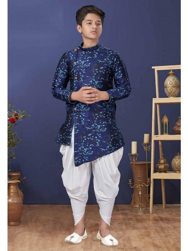 Blue Colour Jacquard,Silk Boy's Kids Indowestern.