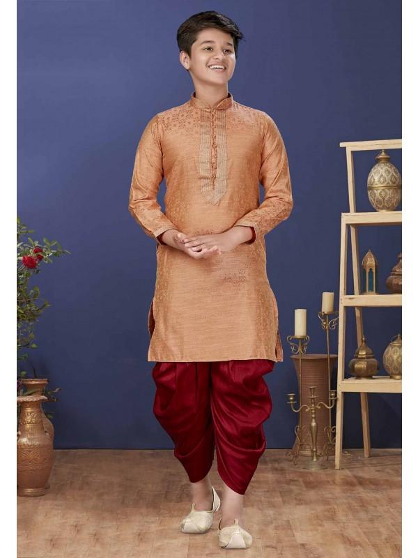 Rust Colour Jacquard Silk Boy's Kurta Pajama.