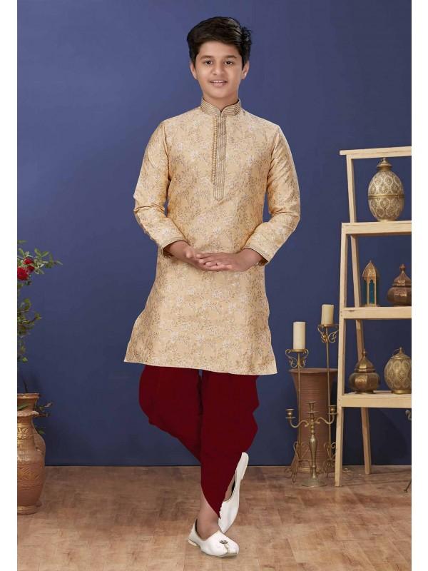 Golden Colour Jacquard,Silk Designer Boy's Kurta Pajama.
