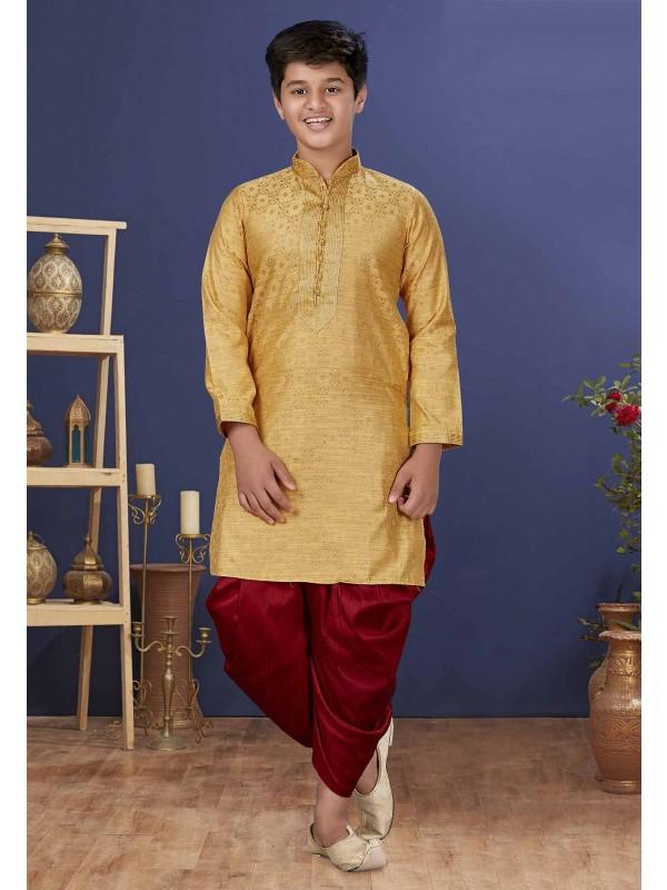 Golden Colour Designer Boys Kurta Pajama.