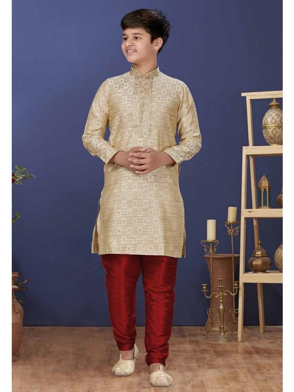 Beige Colour Jacquard Silk Boys Kurta Pajama.