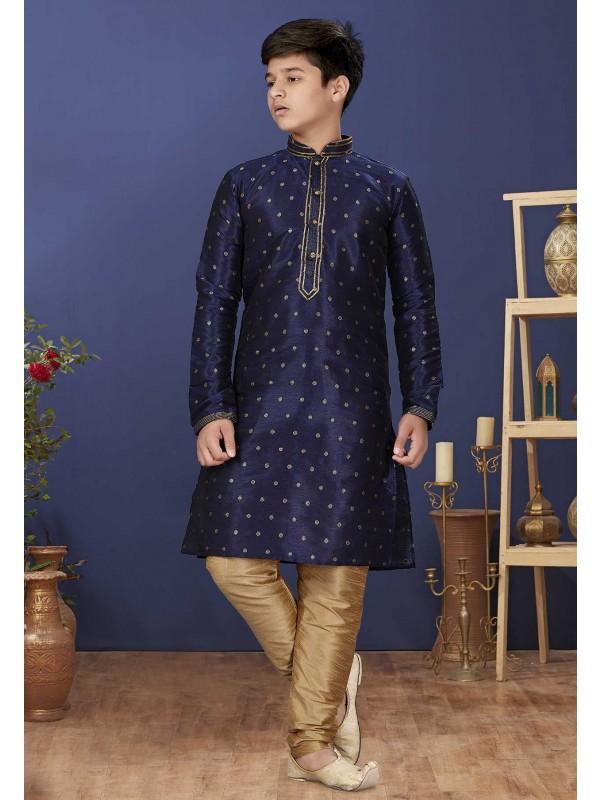 Blue Colour Silk Boy's Designer Kurta Pajama.