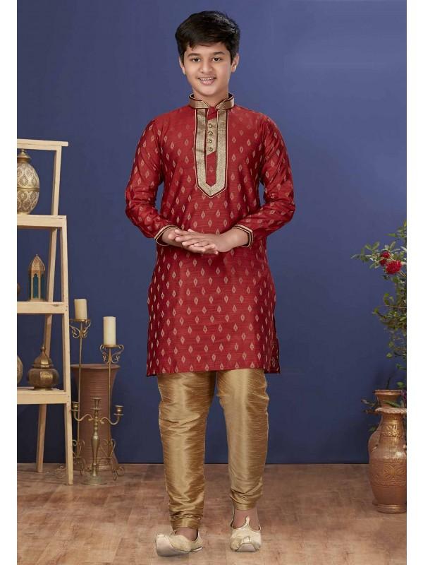 Red Colour Jacquard Silk Boys Kurta Pajama.
