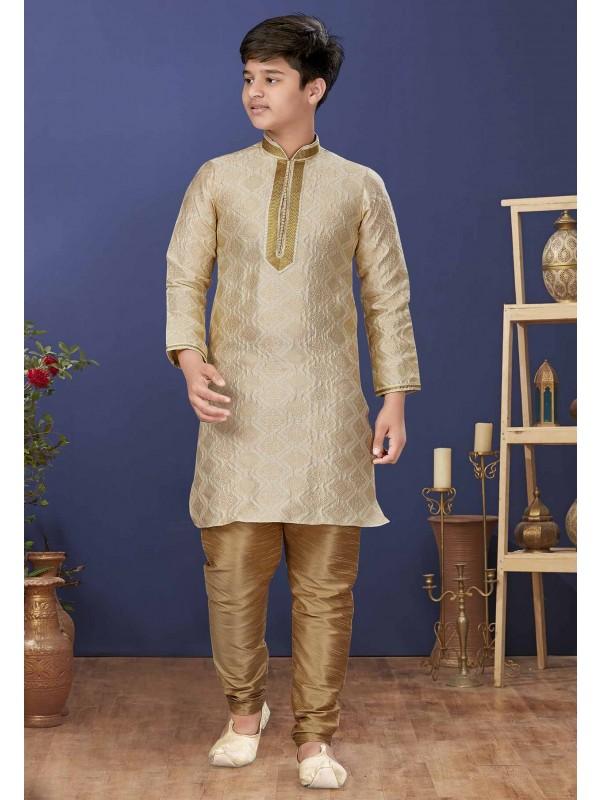 Cream,Beige Colour Jacquard Silk Boy's Kurta Pajama.