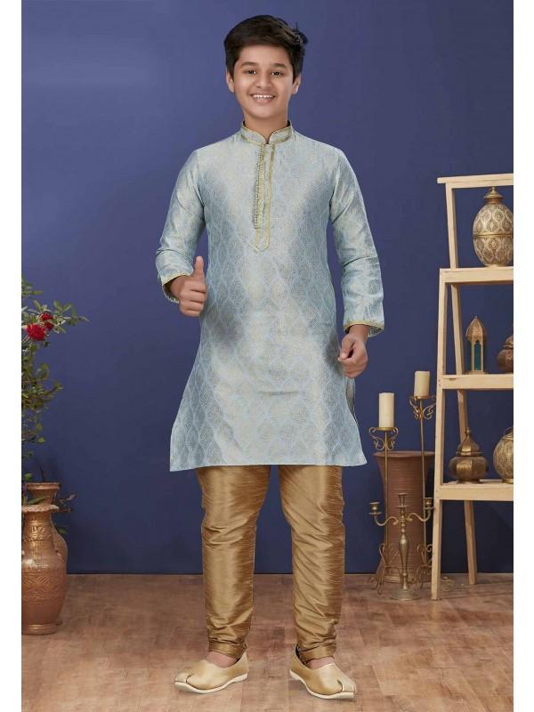 Sky Blue Colour Jacquard Silk Boys Kurta Pajama.