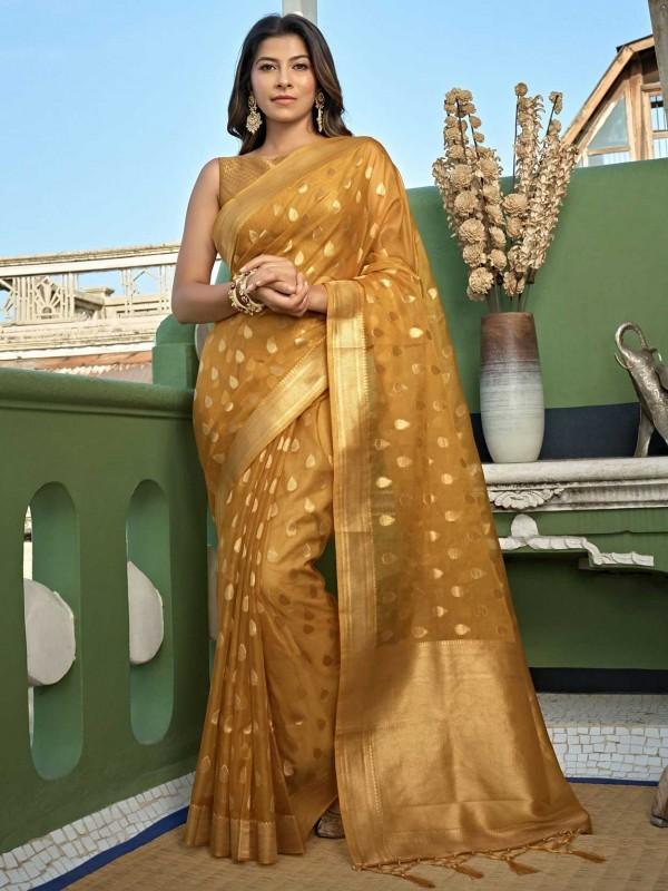 Mustard Yellow Colour Organza Fabric Designer Saree.