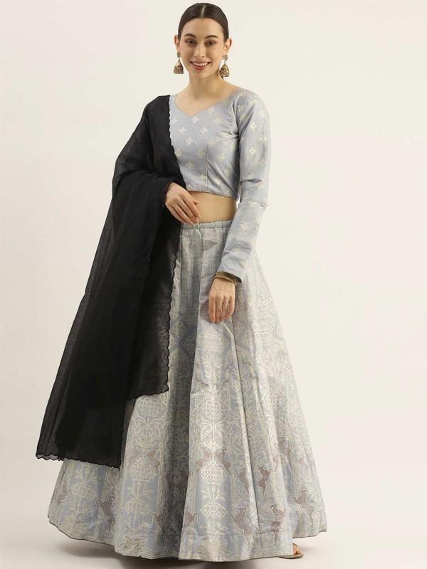 Grey Colour Silk Women Lehenga Choli.
