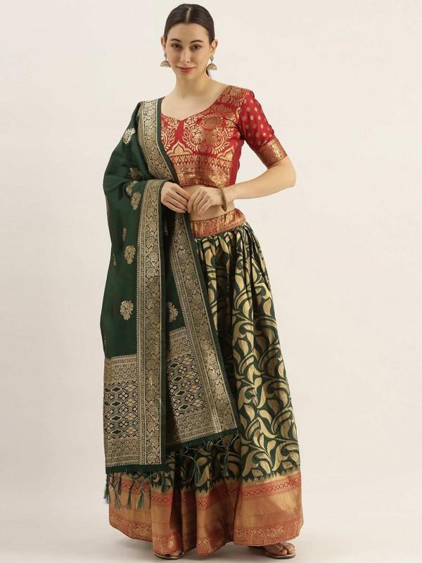 Green,Red Colour Art Silk Lehenga Choli.